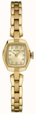 Bulova Cuarzo chapado en oro para mujer. 97L155
