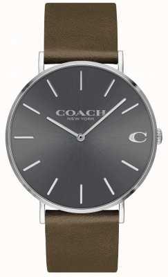 Coach Charles para hombre | correa de cuero marron | esfera gris 14602153