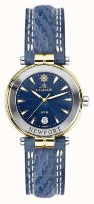 Michel Herbelin Correa newport azul para mujer chapada en oro 14255/T35