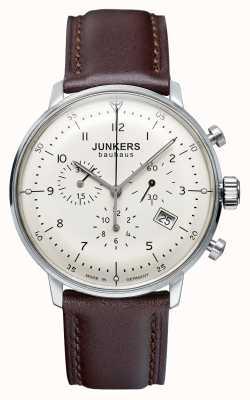 Junkers Correa de cuero marrón para hombre Bauhaus cronógrafo 6086-5