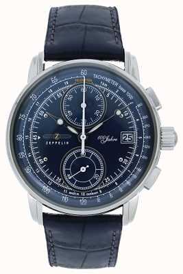 Zeppelin El | serie 100 años | fecha cronógrafo | cuero azul | 8670-3