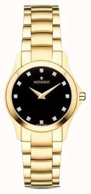 Movado | reloj mujer moisan | tono dorado | esfera negra | 0607028