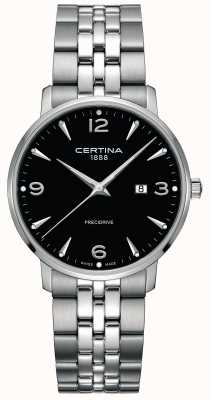 Certina Mens ds caimano acero inoxidable esfera negra C0354101105700