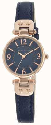 Anne Klein | reloj manhattan para mujer | cuero azul marino | 10-N9442RGNV