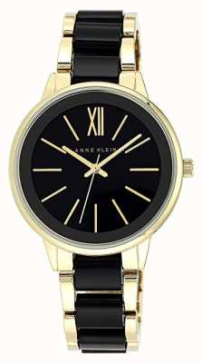 Anne Klein | reloj de resina olivia para mujer | negro y oro | AK-N1412BKGB