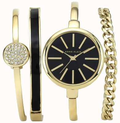 Anne Klein | Reloj de pulsera negro y dorado para mujer | AK-N1470GBST