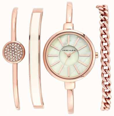 Anne Klein | Pulsera para mujer en rosa y oro rosa con reloj. AK-N1470RGST