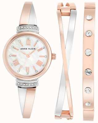 Anne Klein | mujer clarissa rosa blanca oro | cruzar conjunto de regalo | AK-N2245RTST