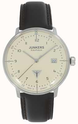 Junkers Bauhaus reloj esfera color crema correa de cuero marrón 6046-5