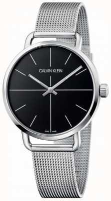 Calvin Klein | Malla de acero inoxidable incluso mediano para mujer | esfera negra | K7B21121
