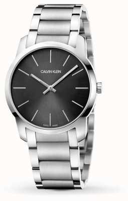 Calvin Klein | ciudad de mens | pulsera de acero inoxidable | esfera negra / gris | K2G22143