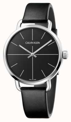 Calvin Klein | incluso ver los hombres | correa de cuero negro | esfera negra | K7B211CZ