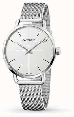 Calvin Klein | Malla de acero inoxidable incluso mediano para mujer | esfera blanca | K7B21126
