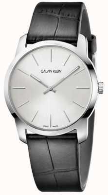 Calvin Klein | reloj de extensión de la ciudad | correa de cuero negro | esfera plateada | K2G221C6