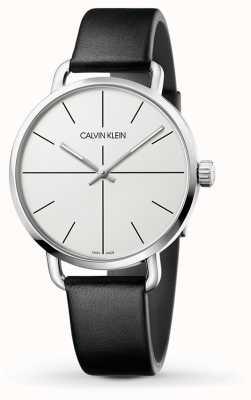 Calvin Klein | incluso la extensión de reloj | correa de cuero negro | esfera blanca | K7B211CY