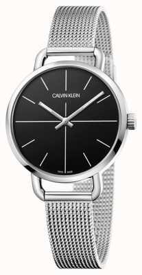 Calvin Klein | incluso ver | correa de malla de acero inoxidable | esfera negra | K7B23121