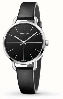 Calvin Klein | incluso la extensión de reloj | correa de cuero negro | esfera negra | K7B231CZ