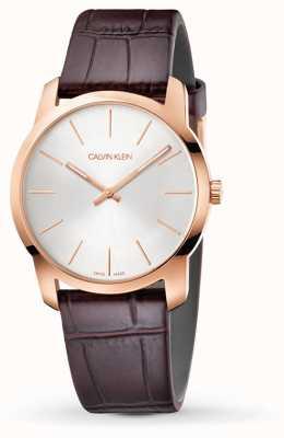 Calvin Klein | reloj de extensión de la ciudad | correa de cuero marron | esfera plateada | K2G226G6