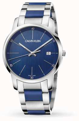 Calvin Klein | extensión de la ciudad de los hombres | acero inoxidable de dos tonos | esfera azul K2G2G1VN