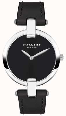 Coach | reloj chrystie para mujer | cuero negro y acero | 14503091