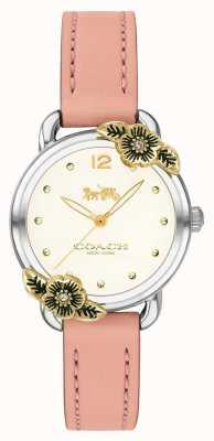 Coach | reloj delancey para mujer | Cuero rosa y acero inoxidable | 14503239
