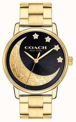 Coach El | gran reloj para mujer | dorado con detalle de luna en la cara | 14503278