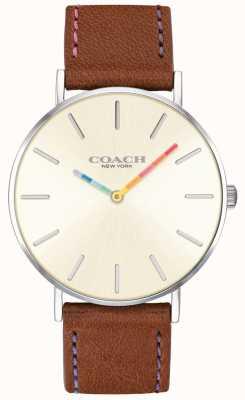 Coach | reloj perry para mujer | correa de cuero marrón esfera blanca | 14503032