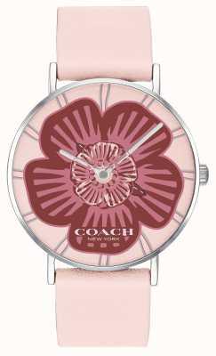 Coach | reloj perry para mujer | correa de cuero rosa | esfera floral | 14503231
