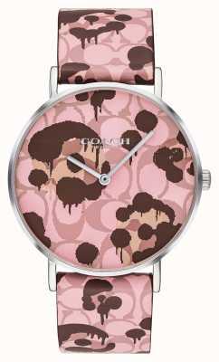 Coach | reloj perry para mujer | correa de piel rosa con diseño floral | 14503246