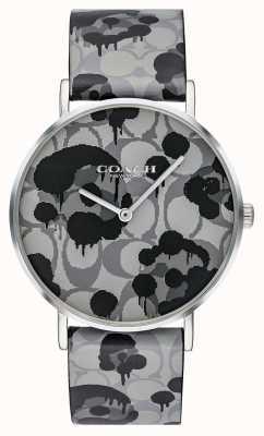 Coach | reloj perry para mujer | correa de cuero gris con diseño floral | 14503248