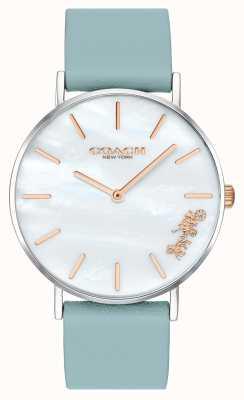 Coach | reloj perry para mujer | correa de cuero verde azulado esfera blanca | 14503271