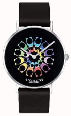 Coach | reloj perry para mujer | correa de cuero negro esfera negra | 14503289