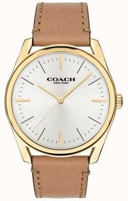 Coach | reloj de lujo moderno para hombre | correa de cuero color canela esfera blanca | 14602398