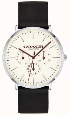 Coach El | reloj para hombre varick | correa de cuero negro esfera blanca | 14602387