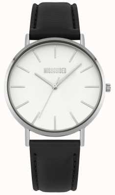 Missguided | reloj de señoras | correa de cuero negro esfera blanca | MG017B