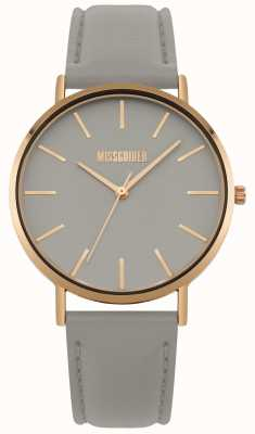 Missguided | reloj de señoras | correa de cuero gris dial gris | MG017ERG