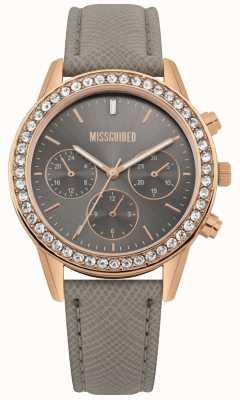 Missguided | reloj de señoras | correa de cuero gris caja de oro rosa | MG002ERG