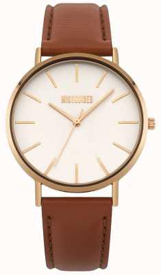 Missguided | reloj de señoras | esfera de cuero marrón blanco | MG017TRG