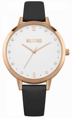 Missguided | reloj de señoras | Caja de oro rosa de cuero negro | MG010BRG
