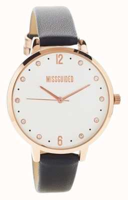 Missguided | reloj de mujer | caja de oro rosa de cuero negro | MG010BRG