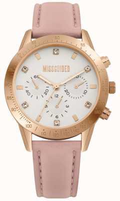Missguided | reloj de señoras | correa de cuero rosa | MG004PRG