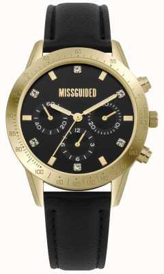 Missguided | reloj de señoras | caja de cuero negro de oro | MG004BG