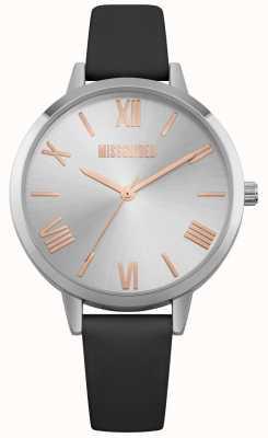 Missguided | reloj de señoras | correa de cuero negro esfera plateada | MG001B