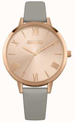 Missguided | reloj de señoras | correa de cuero gris esfera rosa | MG001ERG
