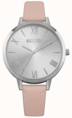 Missguided El | reloj de mujer | correa de cuero rosa esfera plateada | MG001P