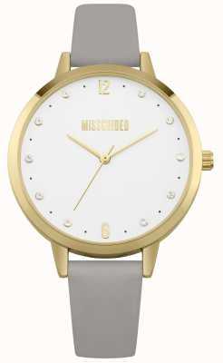 Missguided | reloj de señoras | correa de cuero gris funda dorada | MG010EG