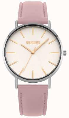 Missguided El | reloj de mujer | correa de cuero rosa esfera blanca | MG017P