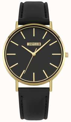Missguided | reloj de señoras | correa de cuero negro esfera negra | MG017BG