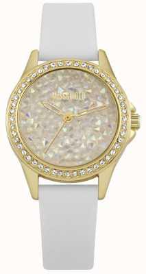 Missguided | reloj de señoras | correa de piel blanca funda dorada | MG013WG