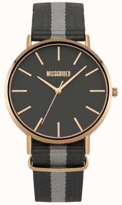 Missguided | reloj de señoras | correa de tela negra y gris | MG018ERG